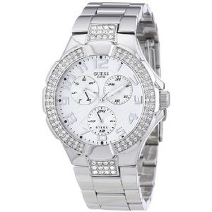 Guess Women's Silver Watch With Crystals
